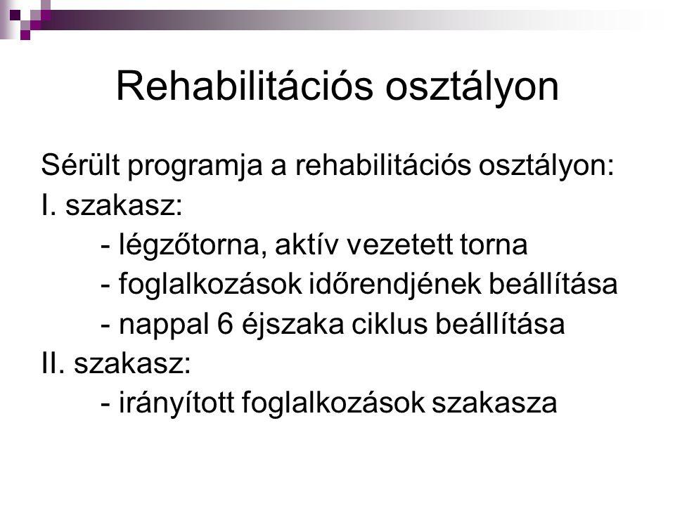 Rehabilitációs osztályon Sérült programja a rehabilitációs osztályon: I. szakasz: - légzőtorna, aktív vezetett torna - foglalkozások időrendjének beál