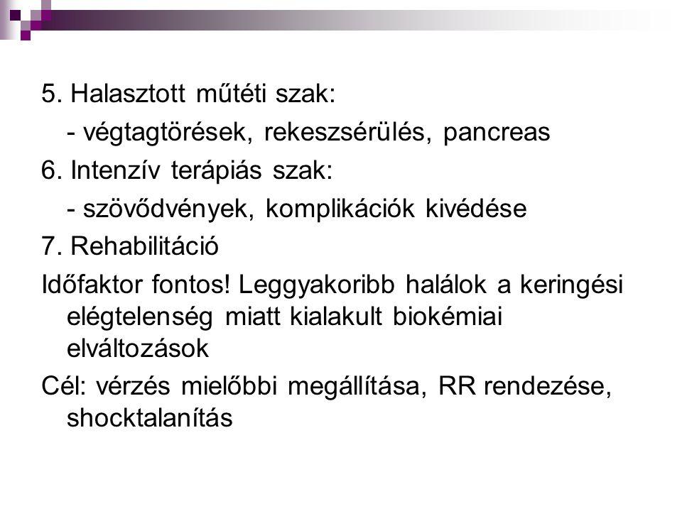 5. Halasztott műtéti szak: - végtagtörések, rekeszsérülés, pancreas 6. Intenzív terápiás szak: - szövődvények, komplikációk kivédése 7. Rehabilitáció