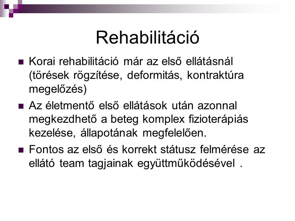 Rehabilitáció Korai rehabilitáció már az első ellátásnál (törések rögzítése, deformitás, kontraktúra megelőzés) Az életmentő első ellátások után azonn