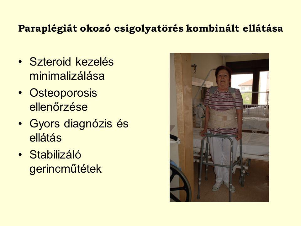 Szteroid kezelés minimalizálása Osteoporosis ellenőrzése Gyors diagnózis és ellátás Stabilizáló gerincműtétek