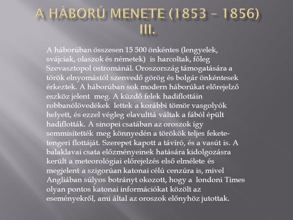 A háborúban összesen 15 500 önkéntes (lengyelek, svájciak, olaszok és németek) is harcoltak, főleg Szevasztopol ostrománál.