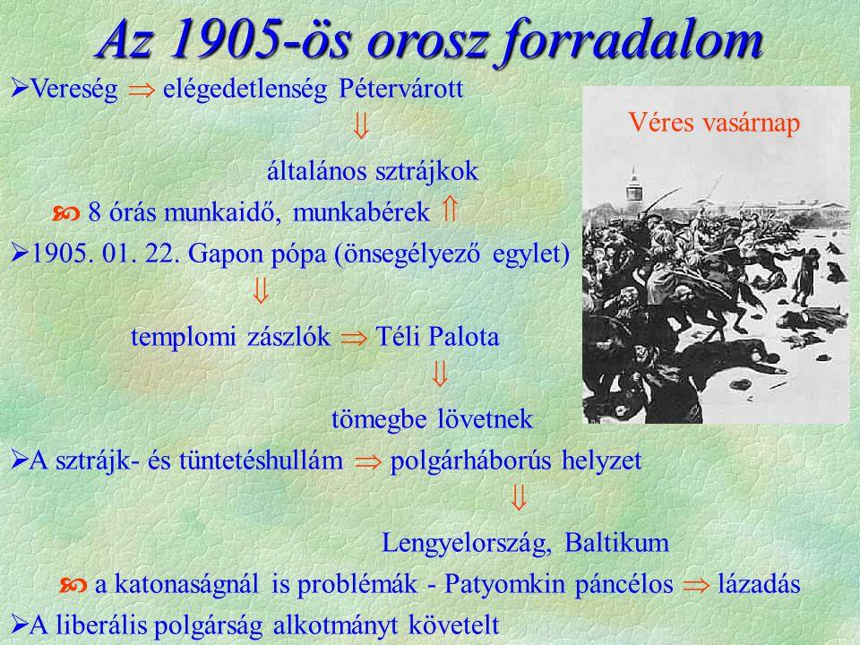 Az 1905-ös orosz forradalom  Vereség  elégedetlenség Pétervárott  általános sztrájkok  8 órás munkaidő, munkabérek   1905.