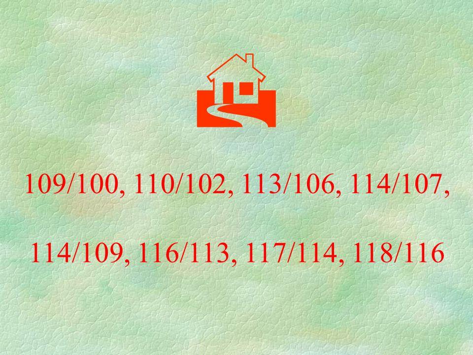  109/100, 110/102, 113/106, 114/107, 114/109, 116/113, 117/114, 118/116