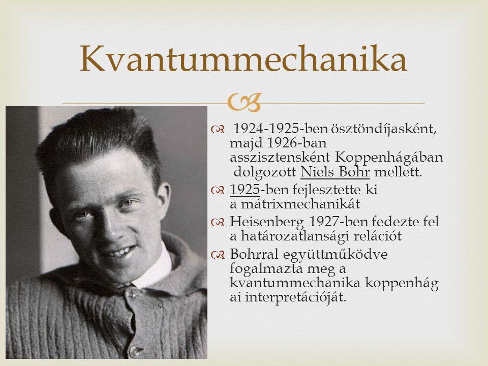   1924-1925-ben ösztöndíjasként, majd 1926-ban asszisztensként Koppenhágában dolgozott Niels Bohr mellett.  1925-ben fejlesztette ki a mátrixmechan