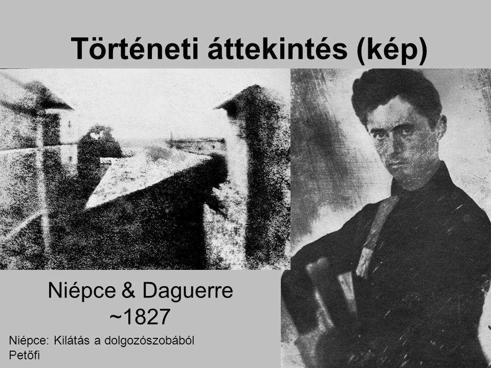 Történeti áttekintés (kép) Niépce & Daguerre ~1827 Niépce: Kilátás a dolgozószobából Petőfi