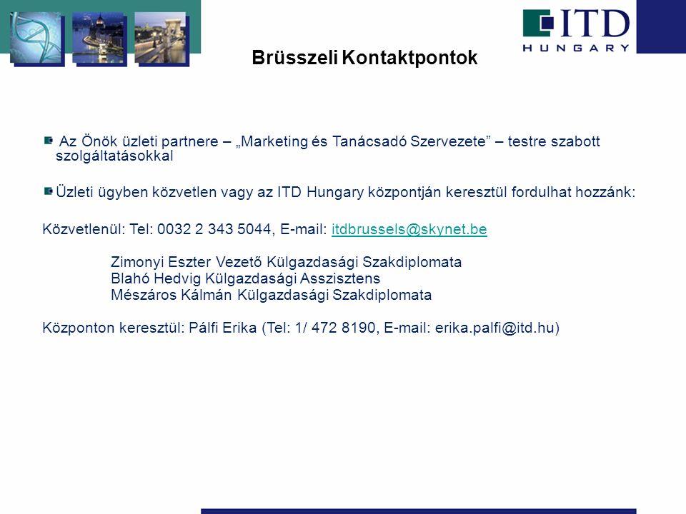 """Az Önök üzleti partnere – """"Marketing és Tanácsadó Szervezete – testre szabott szolgáltatásokkal Üzleti ügyben közvetlen vagy az ITD Hungary központján keresztül fordulhat hozzánk: Közvetlenül: Tel: 0032 2 343 5044, E-mail: itdbrussels@skynet.beitdbrussels@skynet.be Zimonyi Eszter Vezető Külgazdasági Szakdiplomata Blahó Hedvig Külgazdasági Asszisztens Mészáros Kálmán Külgazdasági Szakdiplomata Központon keresztül: Pálfi Erika (Tel: 1/ 472 8190, E-mail: erika.palfi@itd.hu) Brüsszeli Kontaktpontok"""