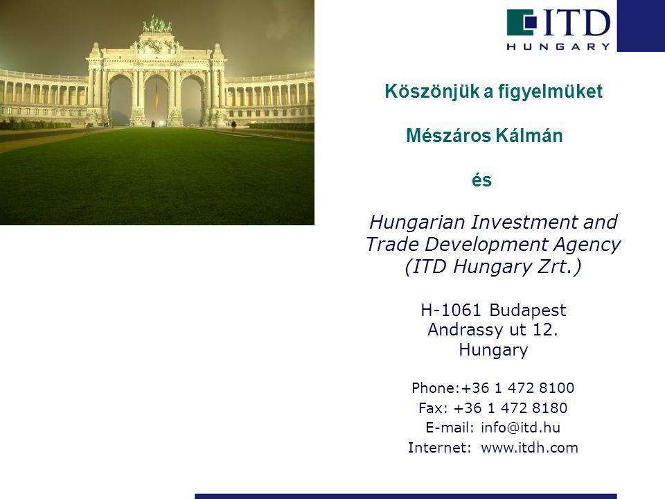 Köszönjük a figyelmüket Mészáros Kálmán és Hungarian Investment and Trade Development Agency (ITD Hungary Zrt.) H-1061 Budapest Andrassy ut 12.