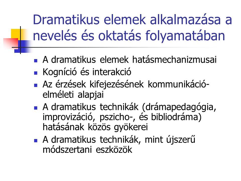 Dramatikus elemek alkalmazása a nevelés és oktatás folyamatában A dramatikus elemek hatásmechanizmusai Kogníció és interakció Az érzések kifejezésének kommunikáció- elméleti alapjai A dramatikus technikák (drámapedagógia, improvizáció, pszicho-, és bibliodráma) hatásának közös gyökerei A dramatikus technikák, mint újszerű módszertani eszközök