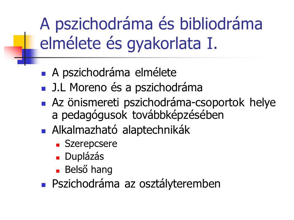 A pszichodráma és bibliodráma elmélete és gyakorlata I.