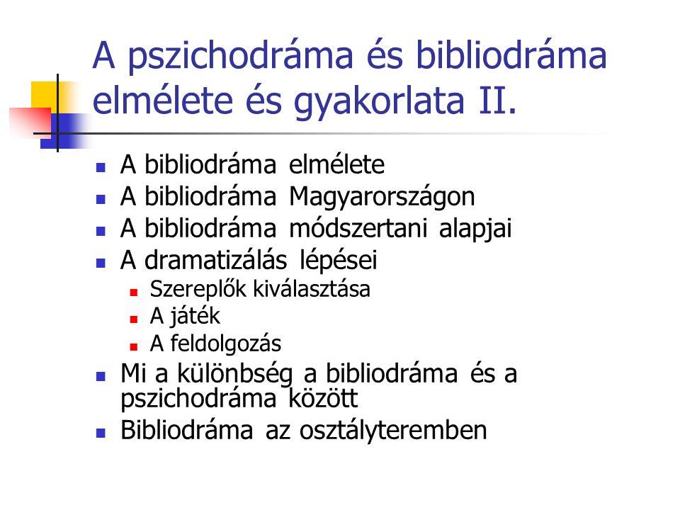 A pszichodráma és bibliodráma elmélete és gyakorlata II.