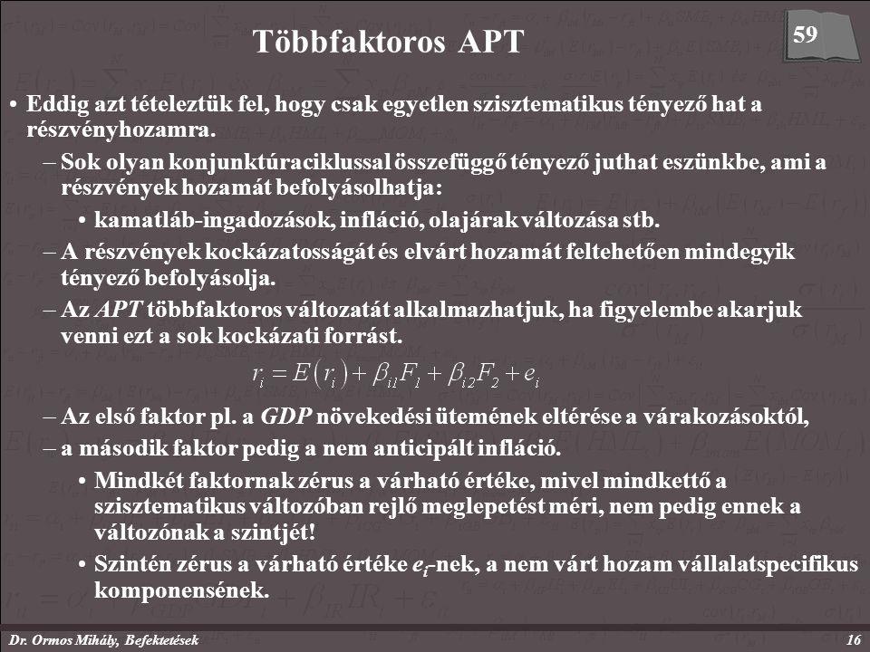 Dr. Ormos Mihály, Befektetések16 Többfaktoros APT Eddig azt tételeztük fel, hogy csak egyetlen szisztematikus tényező hat a részvényhozamra. –Sok olya
