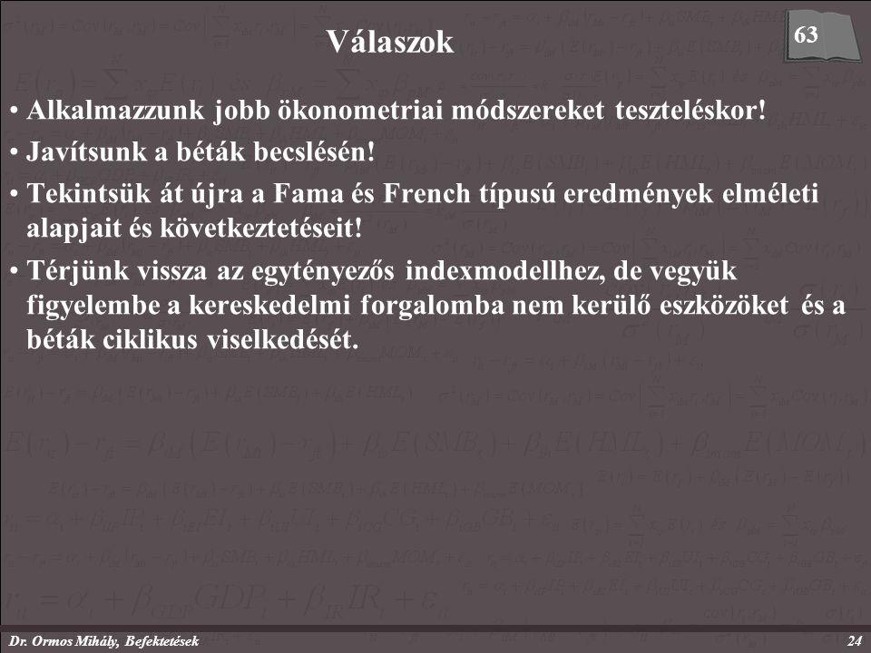 Dr. Ormos Mihály, Befektetések24 Válaszok Alkalmazzunk jobb ökonometriai módszereket teszteléskor.