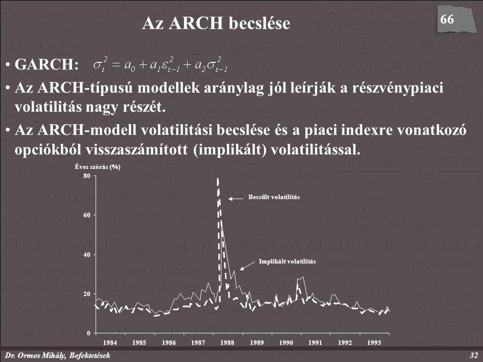 Dr. Ormos Mihály, Befektetések32 Az ARCH becslése GARCH: Az ARCH-típusú modellek aránylag jól leírják a részvénypiaci volatilitás nagy részét. Az ARCH