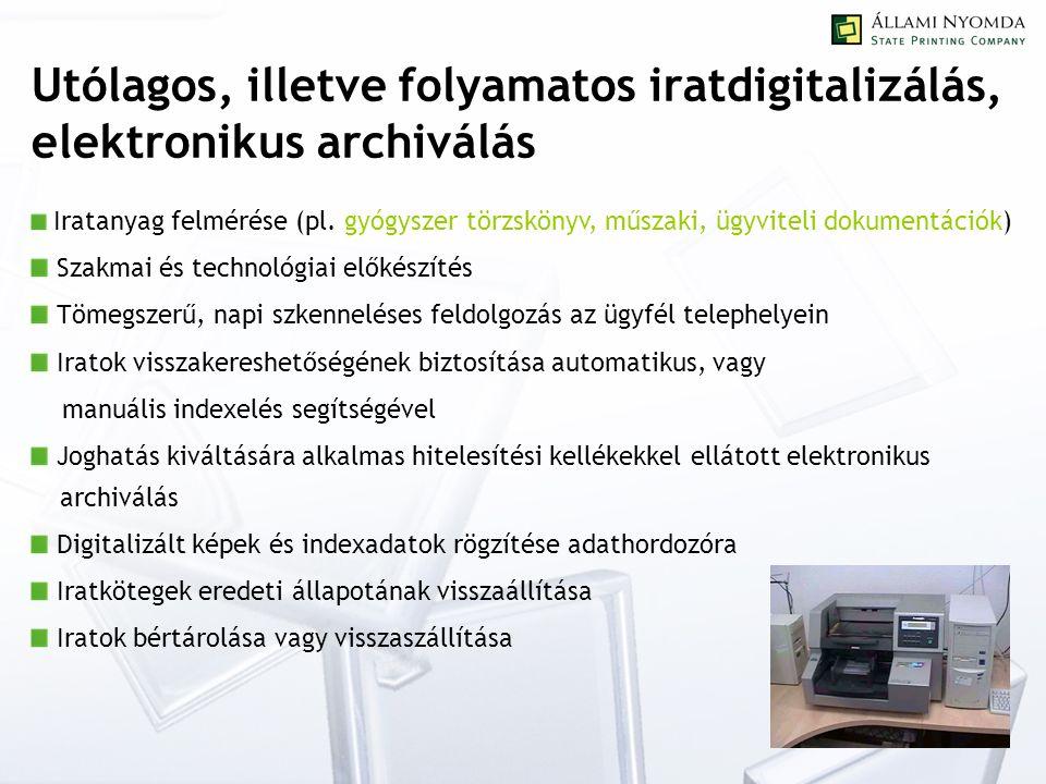 Utólagos, illetve folyamatos iratdigitalizálás, elektronikus archiválás Iratanyag felmérése (pl.
