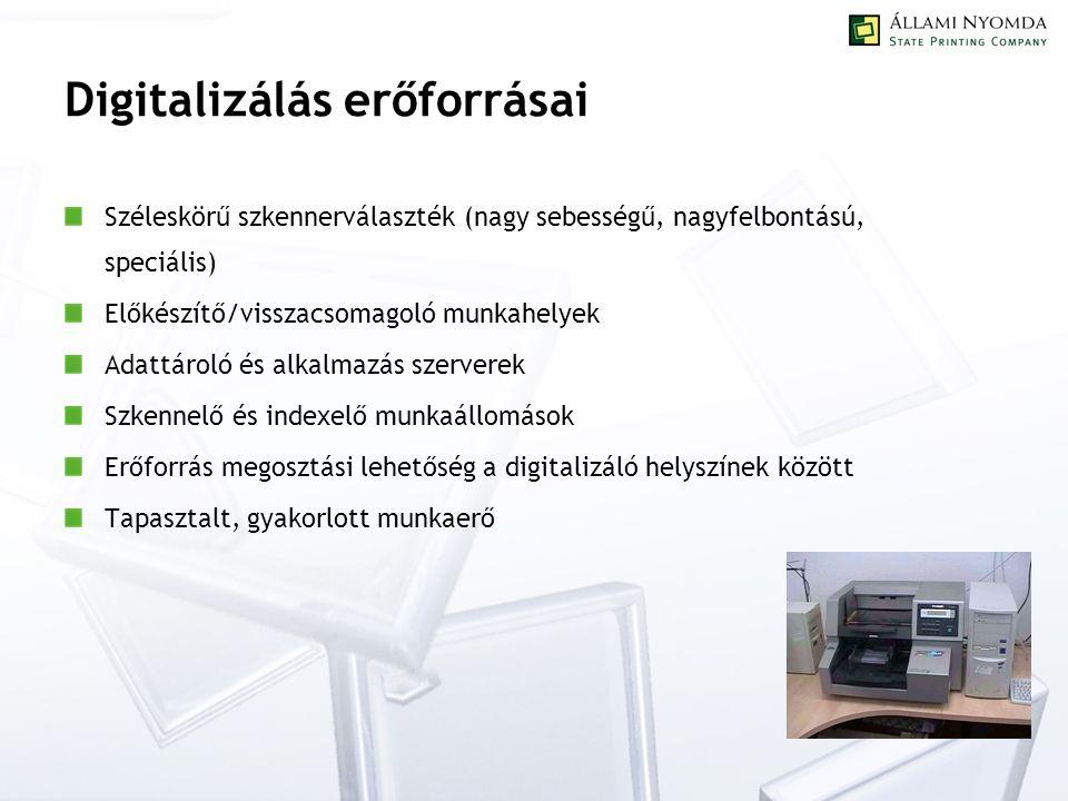 Digitalizálás erőforrásai Széleskörű szkennerválaszték (nagy sebességű, nagyfelbontású, speciális) Előkészítő/visszacsomagoló munkahelyek Adattároló és alkalmazás szerverek Szkennelő és indexelő munkaállomások Erőforrás megosztási lehetőség a digitalizáló helyszínek között Tapasztalt, gyakorlott munkaerő