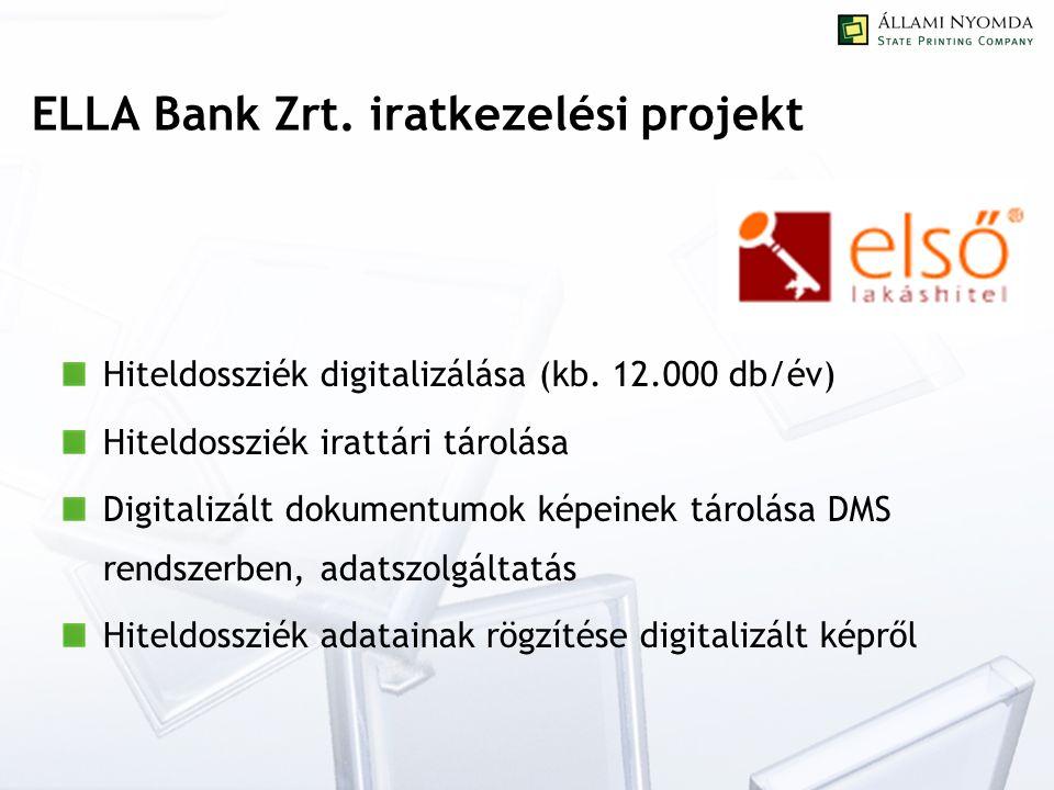 ELLA Bank Zrt. iratkezelési projekt Hiteldossziék digitalizálása (kb.