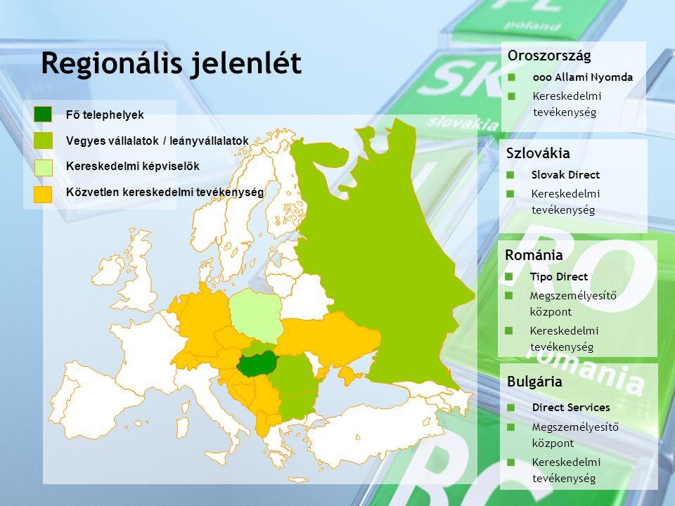 Regionális jelenlét Fő telephelyek Vegyes vállalatok / leányvállalatok Kereskedelmi képviselők Közvetlen kereskedelmi tevékenység Oroszország ooo Allami Nyomda Kereskedelmi tevékenység Szlovákia Slovak Direct Kereskedelmi tevékenység Románia Tipo Direct Megszemélyesítő központ Kereskedelmi tevékenység Bulgária Direct Services Megszemélyesítő központ Kereskedelmi tevékenység