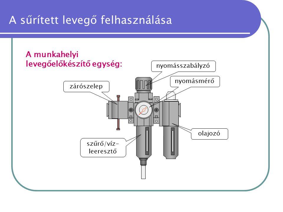 A munkahelyi levegőelőkészítő egység: zárószelep nyomásmérő szűrő/víz- leeresztő nyomásszabályzó olajozó