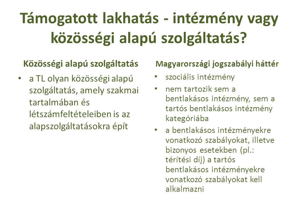 Az igénybevételi eljárás folyamata Komplex szükségletvizsgálat feltétel a támogatott lakhatás igénybevételét megalapozó szükséglet létezik-e avagy sem a jogosultságról nem dönt Vagyonnyilatkozatot, orvosi igazolást, jövedelemnyilatkozat, szakorvos, kezelőorvos szakvéleménye, kiskorúak esetében TKVSZRB szakvéleménye a személyes gondoskodást nyújtó szociális ellátások igénybevételéről szóló 9/1999.(XI.24.) SzCsM rendelet (Ir.) Kiskorúak Kötelező beutalás?