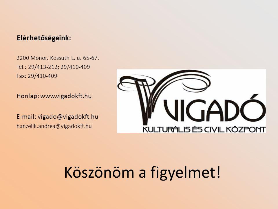 Elérhetőségeink: 2200 Monor, Kossuth L. u. 65-67. Tel.: 29/413-212; 29/410-409 Fax: 29/410-409 Honlap: www.vigadokft.hu E-mail: vigado@vigadokft.hu ha