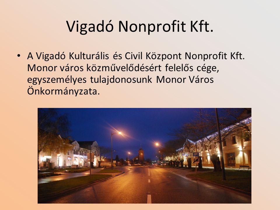 Vigadó Nonprofit Kft. A Vigadó Kulturális és Civil Központ Nonprofit Kft. Monor város közművelődésért felelős cége, egyszemélyes tulajdonosunk Monor V