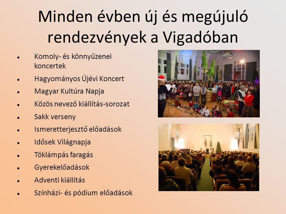 Minden évben új és megújuló rendezvények a Vigadóban Komoly- és könnyűzenei koncertek Hagyományos Újévi Koncert Magyar Kultúra Napja Közös nevező kiál