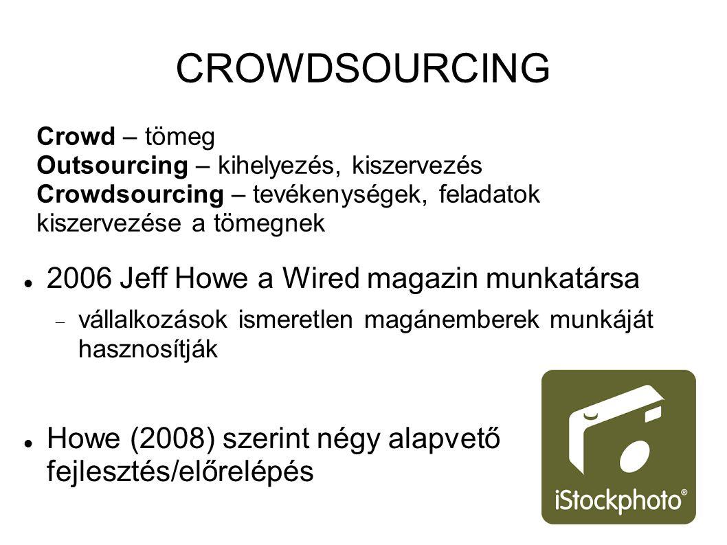 CROWDSOURCING Crowd – tömeg Outsourcing – kihelyezés, kiszervezés Crowdsourcing – tevékenységek, feladatok kiszervezése a tömegnek 2006 Jeff Howe a Wired magazin munkatársa  vállalkozások ismeretlen magánemberek munkáját hasznosítják Howe (2008) szerint négy alapvető fejlesztés/előrelépés