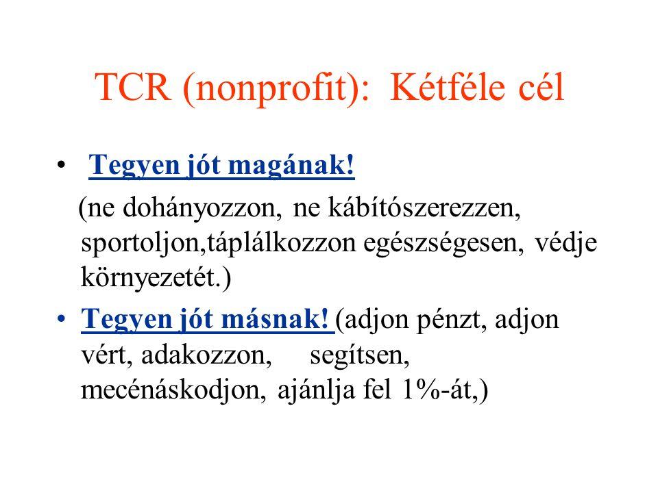 TCR (nonprofit): Kétféle cél Tegyen jót magának! (ne dohányozzon, ne kábítószerezzen, sportoljon,táplálkozzon egészségesen, védje környezetét.) Tegyen