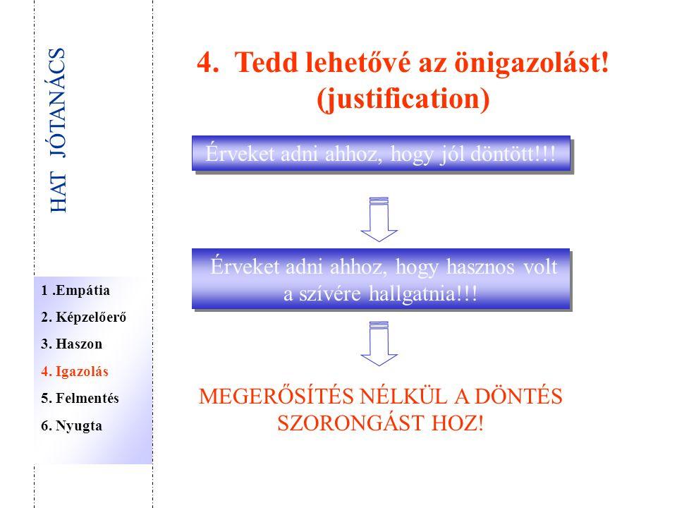 4. Tedd lehetővé az önigazolást. (justification) Érveket adni ahhoz, hogy jól döntött!!.