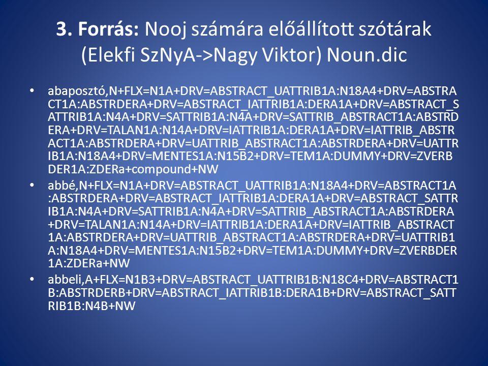 3. Forrás: Nooj számára előállított szótárak (Elekfi SzNyA->Nagy Viktor) Noun.dic abaposztó,N+FLX=N1A+DRV=ABSTRACT_UATTRIB1A:N18A4+DRV=ABSTRA CT1A:ABS