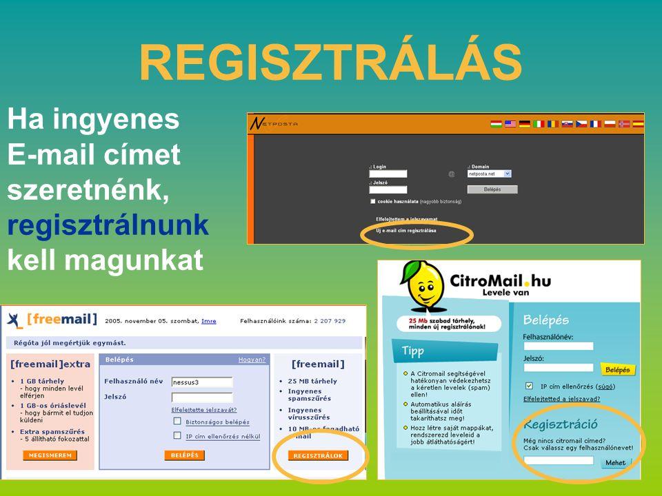 REGISZTRÁLÁS Ha ingyenes E-mail címet szeretnénk, regisztrálnunk kell magunkat
