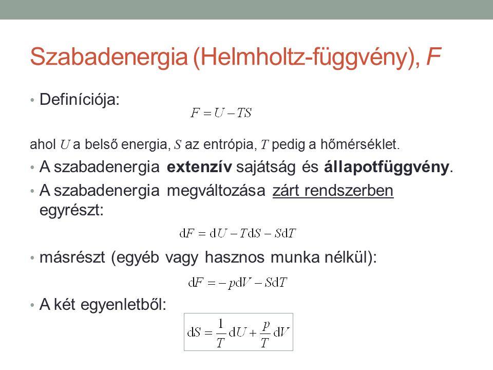 Szabadenergia (Helmholtz-függvény), F Definíciója: ahol U a belső energia, S az entrópia, T pedig a hőmérséklet.
