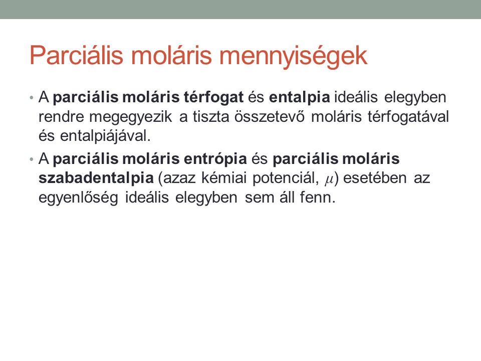 Parciális moláris mennyiségek A parciális moláris térfogat és entalpia ideális elegyben rendre megegyezik a tiszta összetevő moláris térfogatával és entalpiájával.