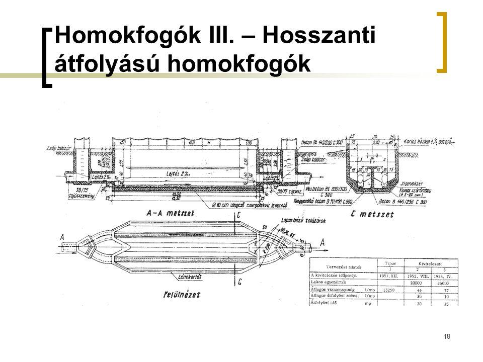 18 Homokfogók III. – Hosszanti átfolyású homokfogók Bozóky 338. o
