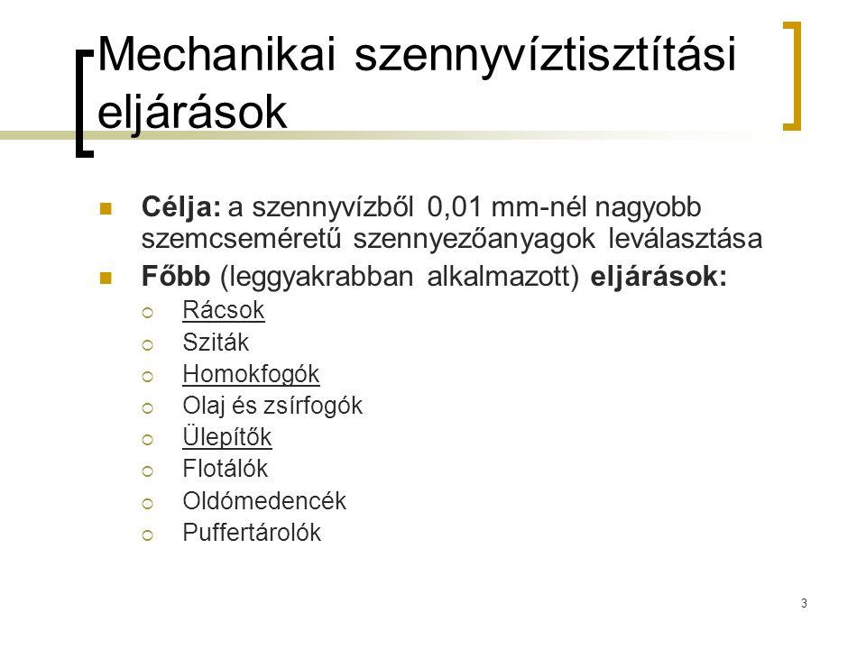 3 Mechanikai szennyvíztisztítási eljárások Célja: a szennyvízből 0,01 mm-nél nagyobb szemcseméretű szennyezőanyagok leválasztása Főbb (leggyakrabban alkalmazott) eljárások:  Rácsok  Sziták  Homokfogók  Olaj és zsírfogók  Ülepítők  Flotálók  Oldómedencék  Puffertárolók