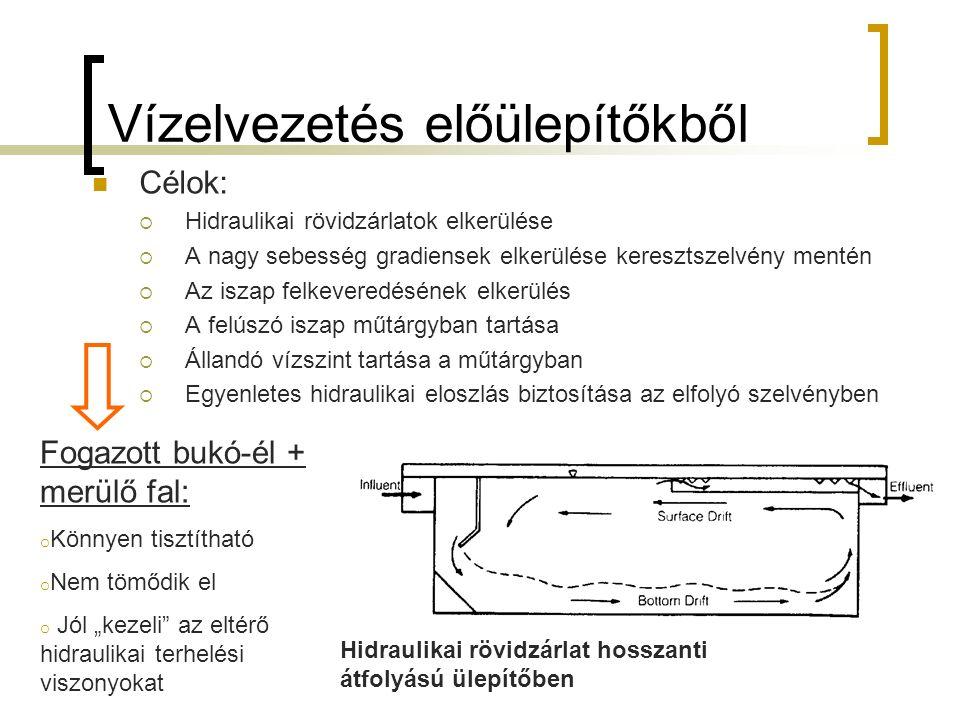 """Vízelvezetés előülepítőkből Célok:  Hidraulikai rövidzárlatok elkerülése  A nagy sebesség gradiensek elkerülése keresztszelvény mentén  Az iszap felkeveredésének elkerülés  A felúszó iszap műtárgyban tartása  Állandó vízszint tartása a műtárgyban  Egyenletes hidraulikai eloszlás biztosítása az elfolyó szelvényben Fogazott bukó-él + merülő fal: o Könnyen tisztítható o Nem tömődik el o Jól """"kezeli az eltérő hidraulikai terhelési viszonyokat Hidraulikai rövidzárlat hosszanti átfolyású ülepítőben"""