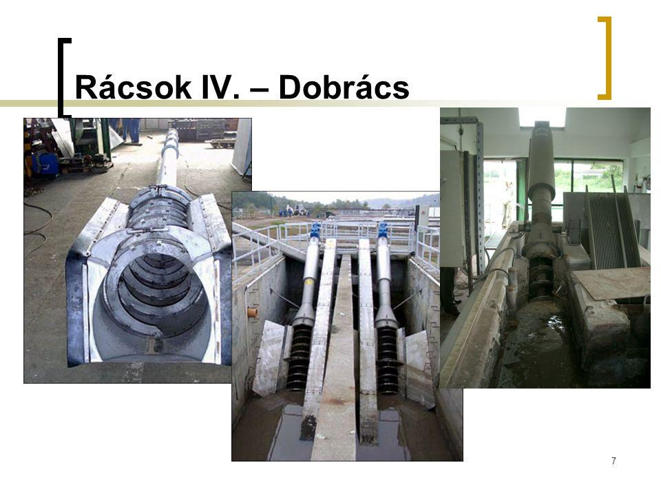 """Koaguláció elősegítése nyers szennyvízben A tisztítási hatékonyság növekedése (kommunális szennyvíz esetén):  LA: +10-50%  BOI5: +10-40%  KOI: +10-40%  ÖP: 10-30% Előnyök:  Jobb hatásfok  Magasabb hidraulikai terhelés """"tűrése Hátrányok:  Növekszik a primer iszap mennyisége  Nehezebb iszap víztelenítés  Nő az üzemelési költség (vegyszer költség, iszapkezelés)"""