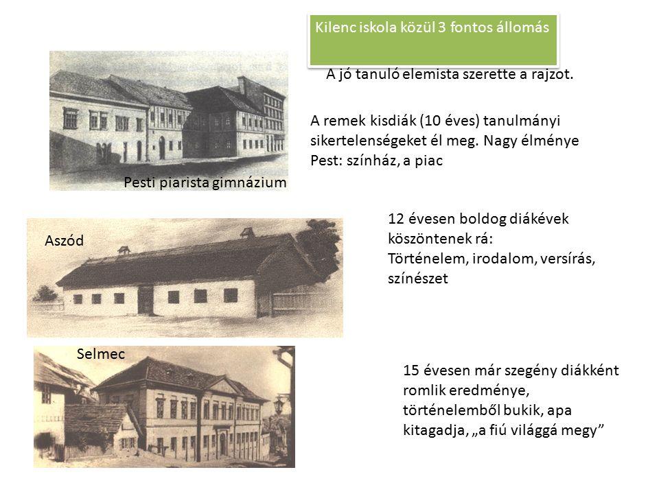 Aszód Kilenc iskola közül 3 fontos állomás Selmec Pesti piarista gimnázium A remek kisdiák (10 éves) tanulmányi sikertelenségeket él meg. Nagy élménye