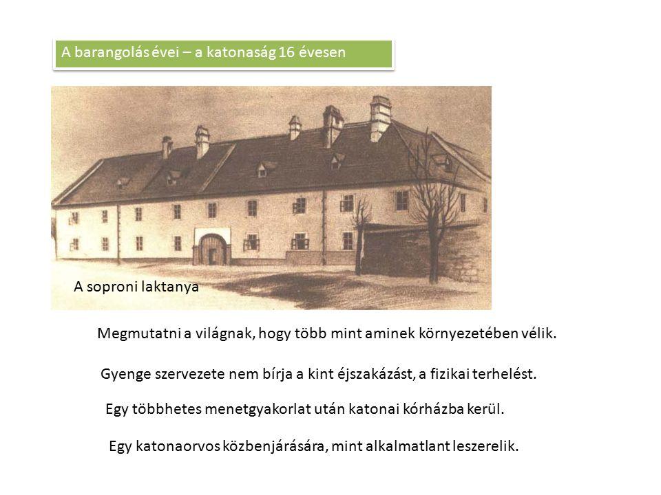 A soproni laktanya A barangolás évei – a katonaság 16 évesen Megmutatni a világnak, hogy több mint aminek környezetében vélik. Gyenge szervezete nem b