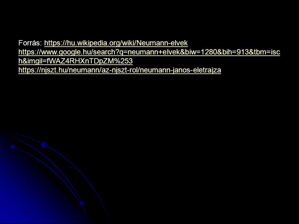 Forrás: https://hu.wikipedia.org/wiki/Neumann-elvekhttps://hu.wikipedia.org/wiki/Neumann-elvek https://www.google.hu/search?q=neumann+elvek&biw=1280&bih=913&tbm=isc h&imgil=fWAZ4RHXnTDpZM%253 https://njszt.hu/neumann/az-njszt-rol/neumann-janos-eletrajza