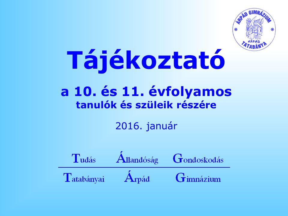 Tájékoztató a 10. és 11. évfolyamos tanulók és szüleik részére 2016. január