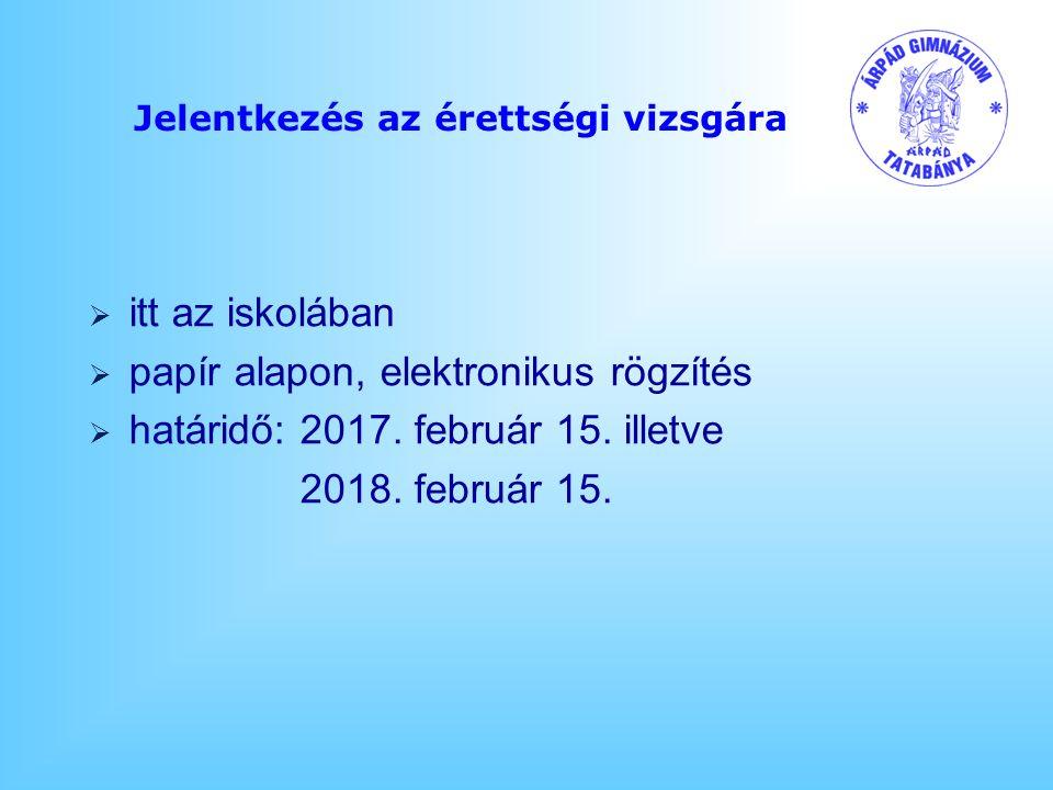 Jelentkezés az érettségi vizsgára  itt az iskolában  papír alapon, elektronikus rögzítés  határidő: 2017.