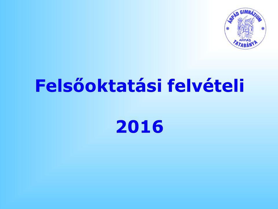Felsőoktatási felvételi 2016