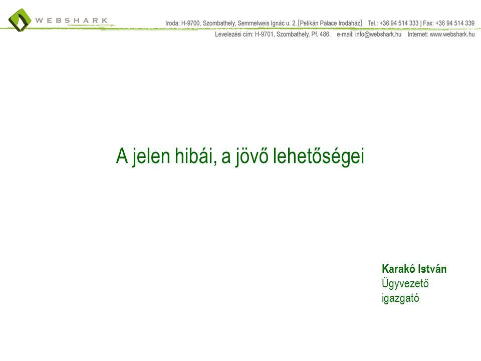A jelen hibái, a jövő lehetőségei Karakó István Ügyvezető igazgató