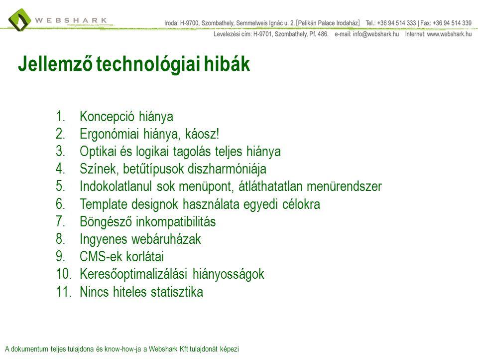 Jellemző technológiai hibák 1.Koncepció hiánya 2.Ergonómiai hiánya, káosz.