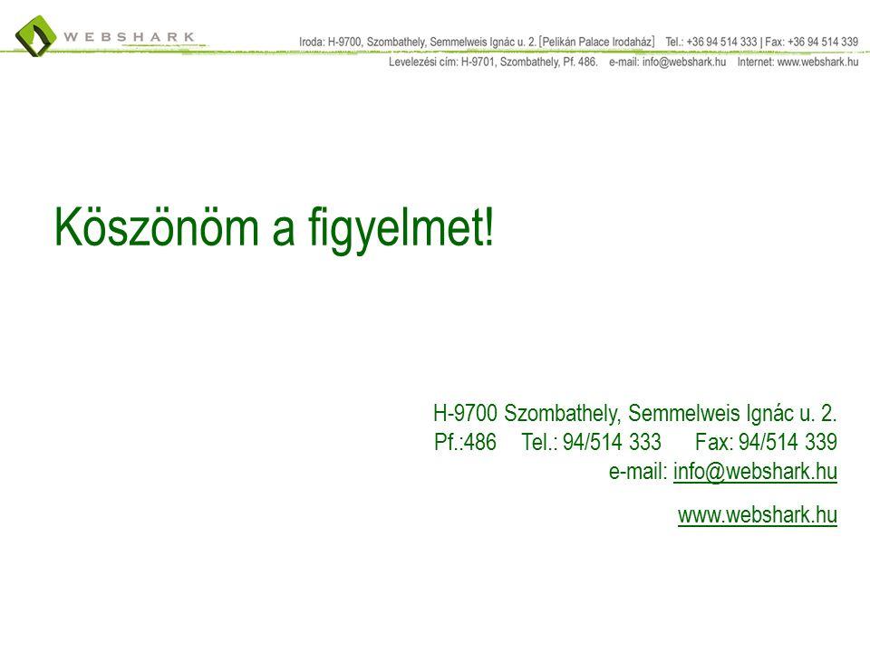 Köszönöm a figyelmet. H-9700 Szombathely, Semmelweis Ignác u.