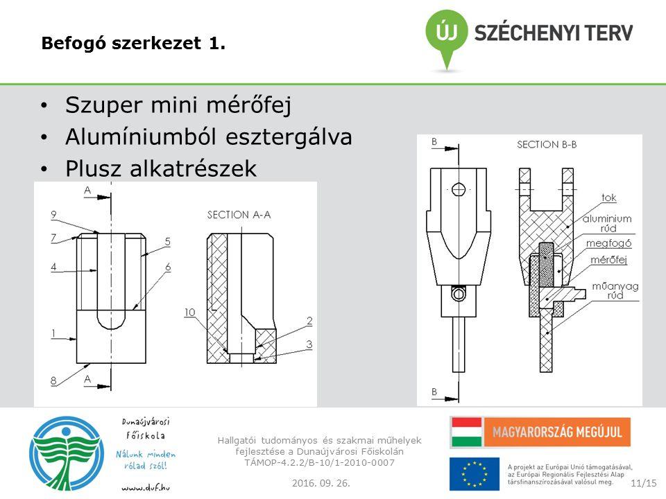 Befogó szerkezet 1. Szuper mini mérőfej Alumíniumból esztergálva Plusz alkatrészek 2016.