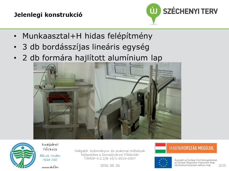 Jelenlegi konstrukció Munkaasztal+H hidas felépítmény 3 db bordásszíjas lineáris egység 2 db formára hajlított alumínium lap 2016.