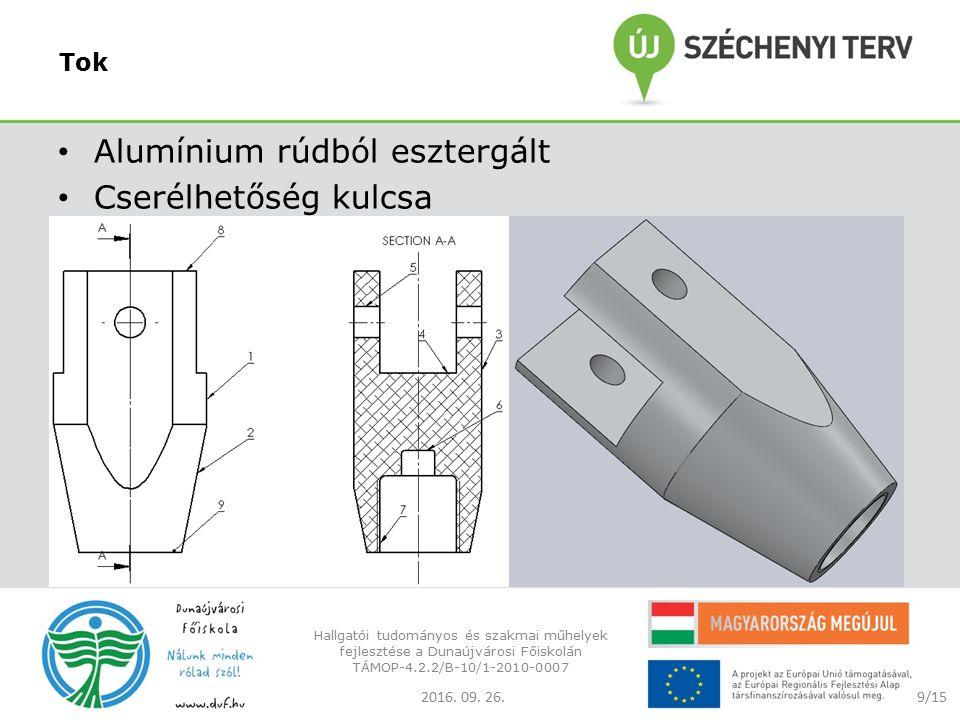 Tok Alumínium rúdból esztergált Cserélhetőség kulcsa 2016.