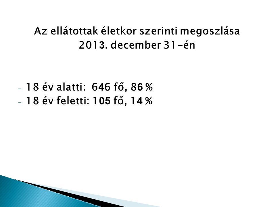 Az ellátottak életkor szerinti megoszlása 201 3.